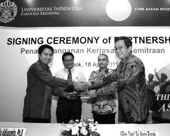 All About CARI Partnerships     Faculty of Economics in the University of Indonesia      CIMB ASEAN Research Institute (CARI) and the Faculty of Economics in the University of Indonesia (FEUI) are undertaking collaborative educational and research programmes to promote ASEAN integration.